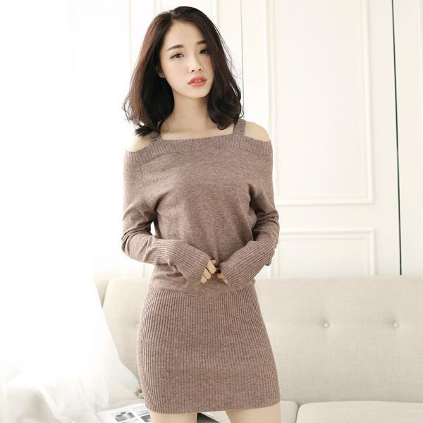 Sexy Off The Shoulder Long Sleeves Sweater Dress 4 Colors