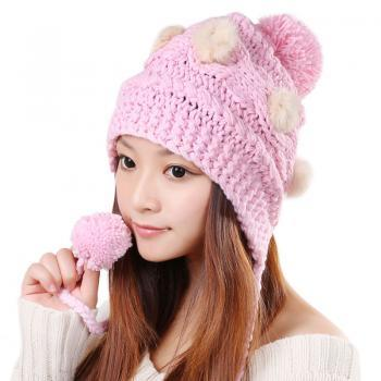 Free Shipping Cute Various Little Ball Knitted Bomber Hat For Girls - Pink