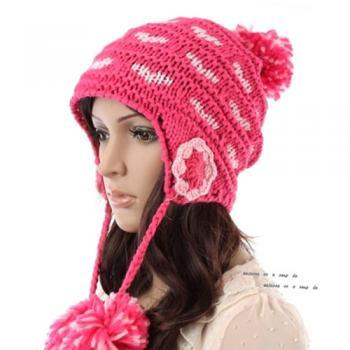 Free Shipping Cute Little Ball Knitted Hat For Girls - Rose