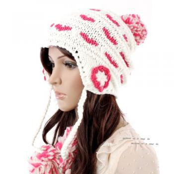 Free Shipping Cute Little Ball Knitted Hat For Girls - White