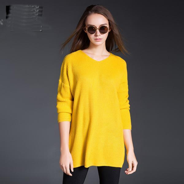 New Large Size Solid Women Casual Yellow Sweaters