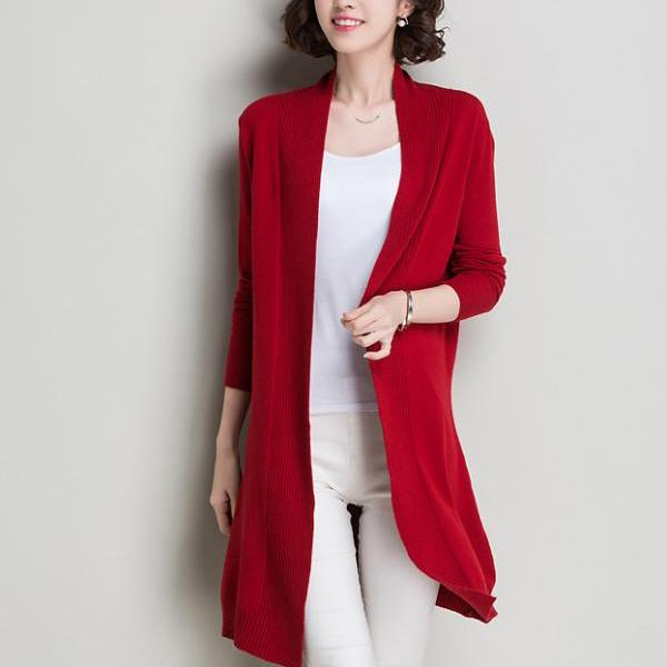 Autumn and winter women slim long sweater cardigan - Red