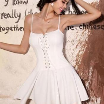 Sexy Hot Spaghetti Strap Design Woman Dress - White