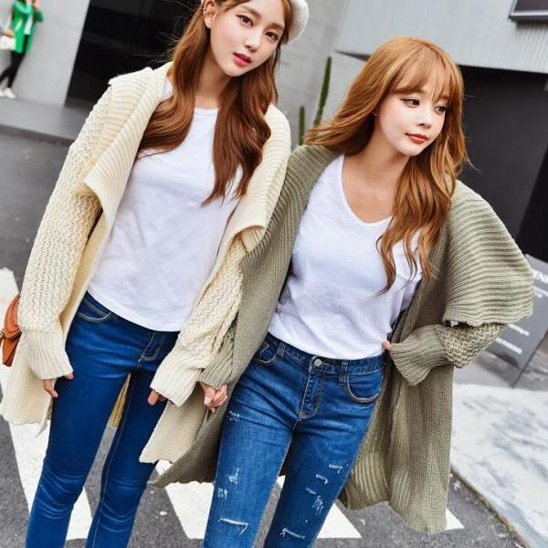 New Style Woman Long Sleeve Long Cardigan Sweater