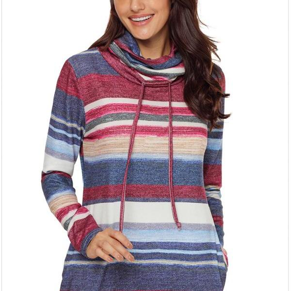 Long Sleeve Cowl Neck Pullover Sweatshirt - Blue
