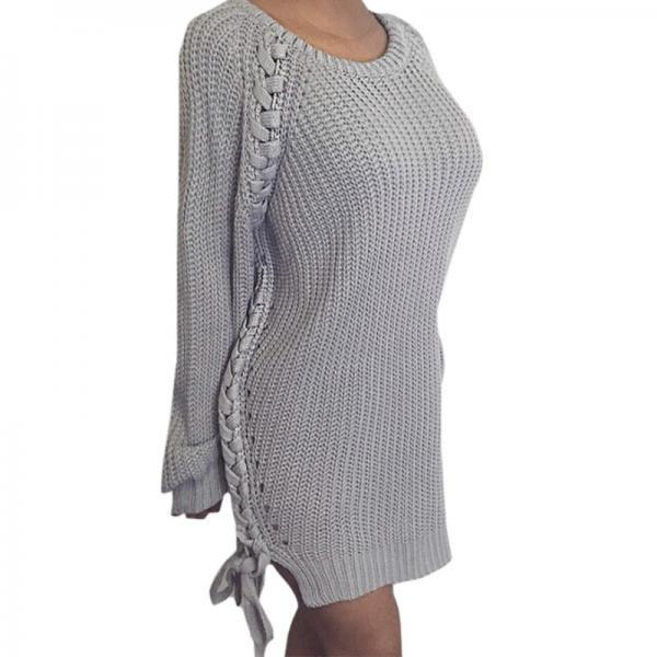 New Arrival Knitted Women O neck Long Sleeve Winter Casual Solid Sweater Dress