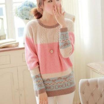 Cute Girls Candy Color Round Neck Pullovers Sweater