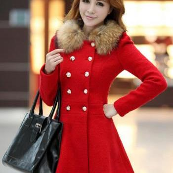 Fashion Double Breasted Fur Decoration Collar Coat - Red
