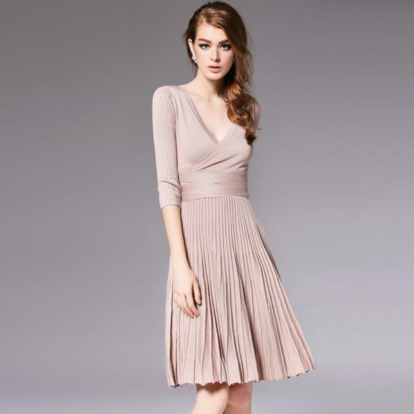 High Quality Half Sleeve V Neck Sweater Dress