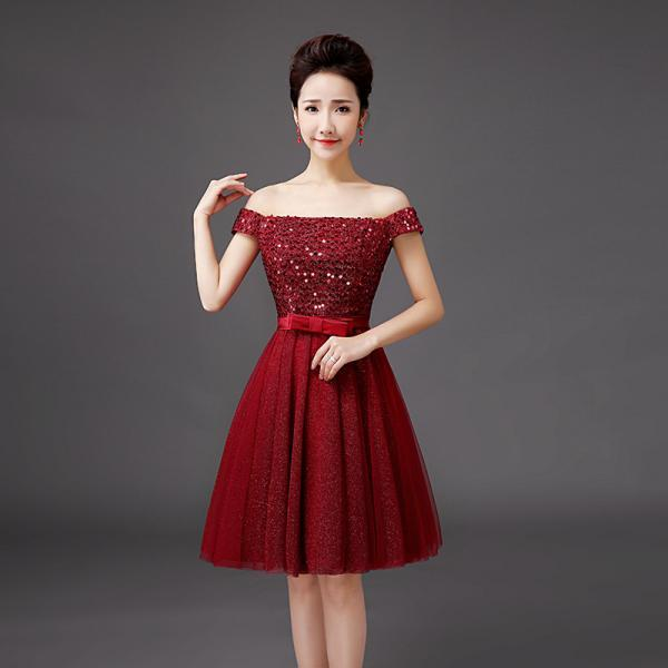 Luxury Wine Red Sequin Party Dress