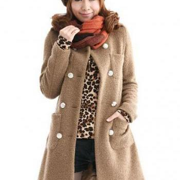 Hot Sale Double Breasted Cashmere Light Tan Coat