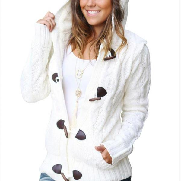 Winter Woman Hooded Collar Thickened Sweatshirt Coat - White