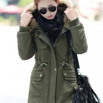 High Quality Fur Hat Zipper Closure Coat - Army Green