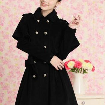 Shining Button Closed Black Outfit Coat and Cloak