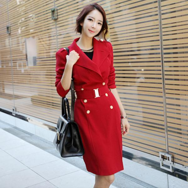 High Quality Long Style Coat with Belt - Red