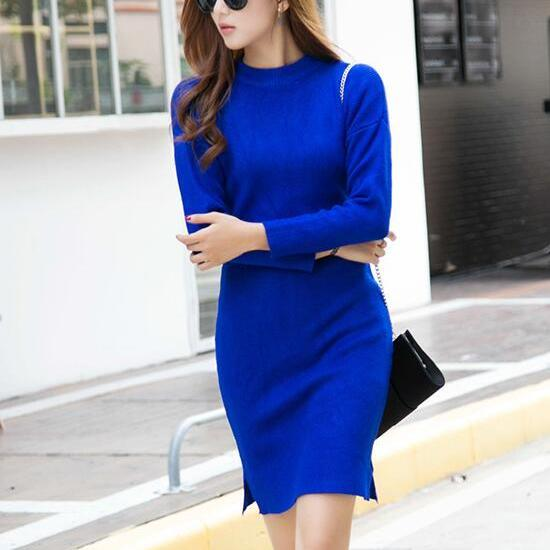 Fashion Blue Woman Sweater Dress