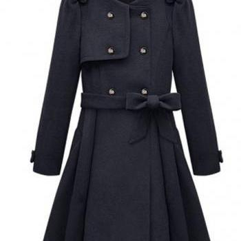 Fashion Style Belt Decoration Round Neck Coats with Button- Blue