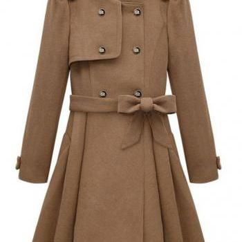 Fashion Style Belt Decoration Round Neck Coats with Button- Khaki