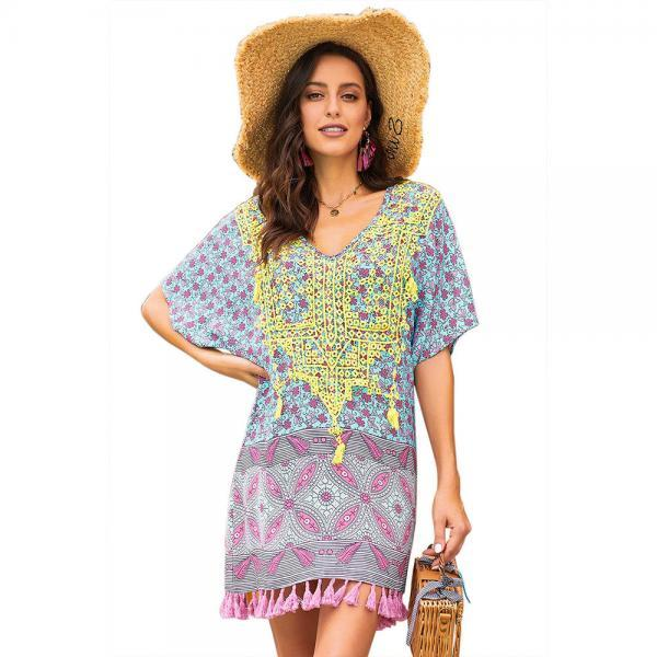 New Print V Neck  Cover Up