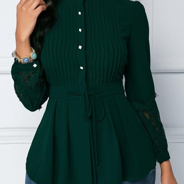 Lace Panel Crinkle Chest Peplum Blouse - Green