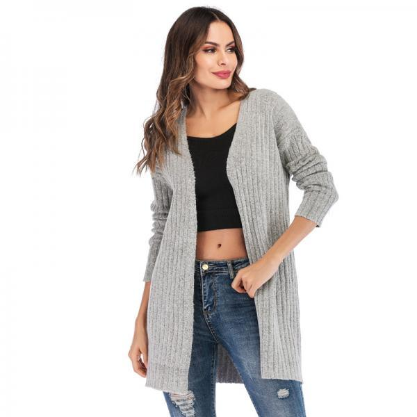 New Style Woman Long Sleeve Cardigan Sweater - Grey