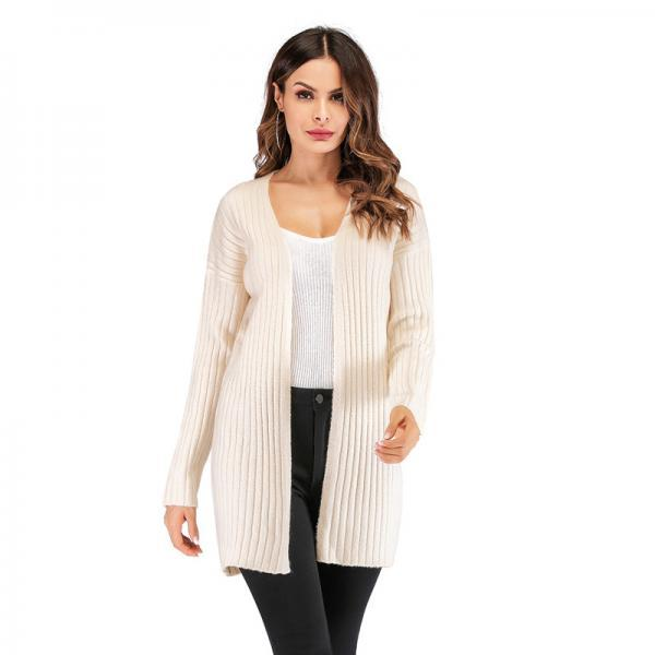 New Style Woman Long Sleeve Cardigan Sweater - Beige
