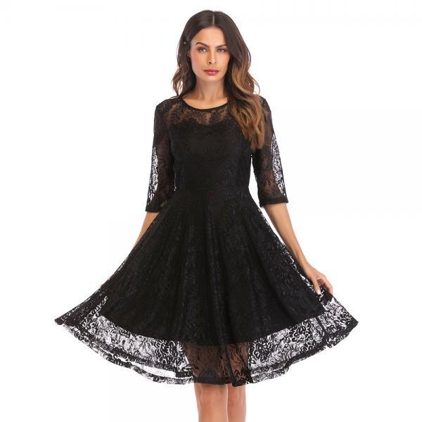 Round Neck Half Sleeve Lace Hollow Dress - Black