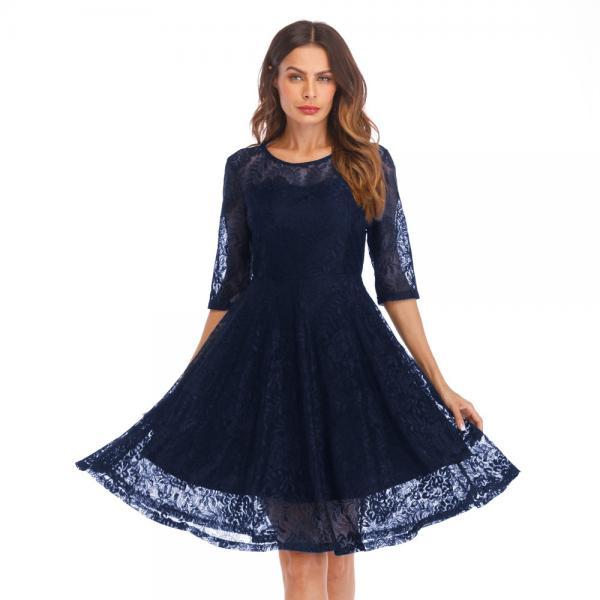 Round Neck Half Sleeve Lace Hollow Dress - Blue