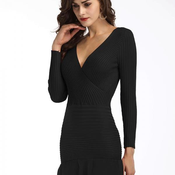Sexy V Neck Women Long Sleeve Knitting Dress - Black