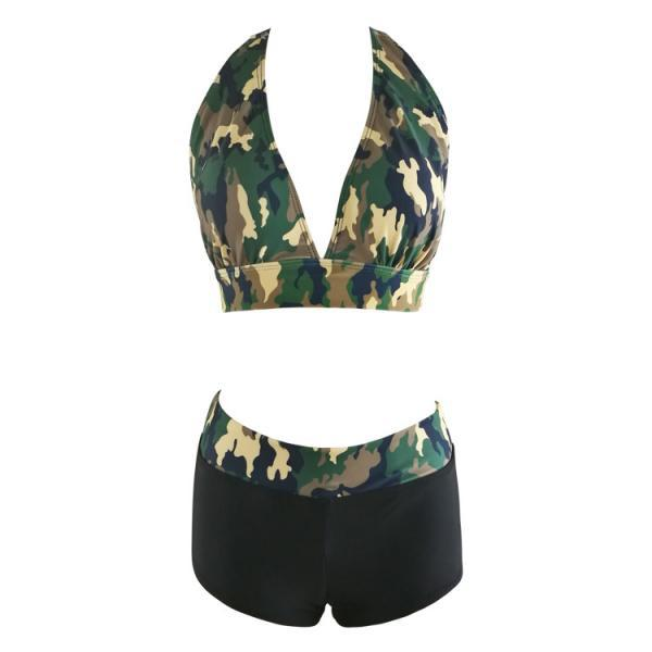 New Camouflage Printed High Waist Bikinis