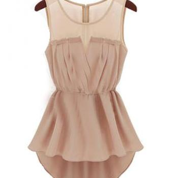 Fashion O Neck Tank Sleeveless Pink Chiffon Asymmetrical Mini Dress