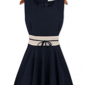 Mature Tank Style Sheared Waist Skater Dress - Navy Blue