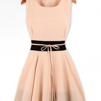 Mature Tank Style Sheared Waist Skater Dress - Pink
