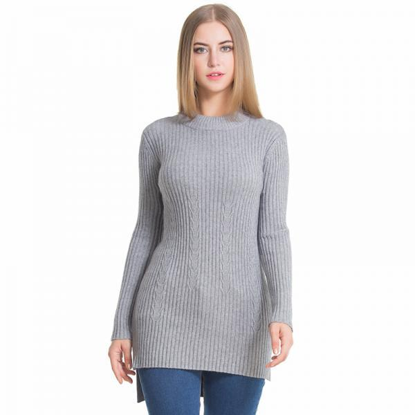Grey Knit Ribbed Crew Neck Long Sleeves High Low Sweater