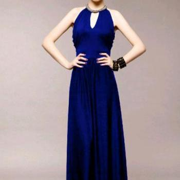 Alluring Crew Neck Sleeveless High Waist Cotton Blue Party Dress