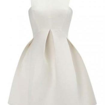 Elegant Solid Sleeveless Pleated Dress for Woman - White