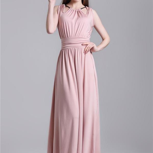 New Halter Neck High Waist Dress - Pink