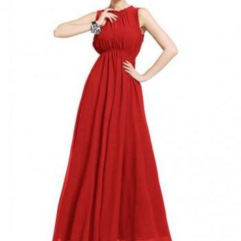 Captivating Open Back Sleeveless Chiffon Long Dress - Red