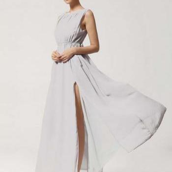 Vogue Slit Design Sleeveless Chiffon Long Dress - Grey