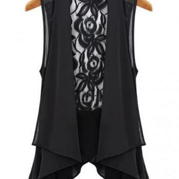 Exquisite Lace Back Asymmetrical Design Chiffon Waistcoat - Black