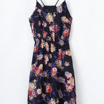 Spaghetti Strap Floral Print Dress with Lace Hem and Halter Back