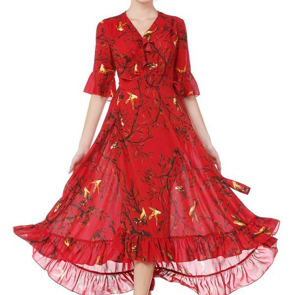 Princess Style Floral Long Chiffon Dress - Red
