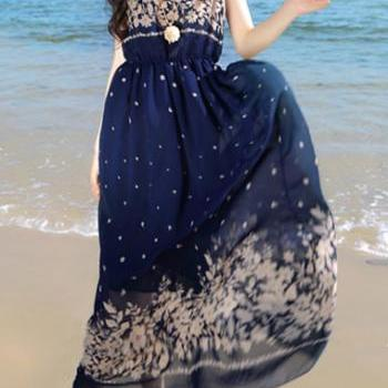 Graceful Round Neck Floral Print Chiffon Dress - Navy Blue