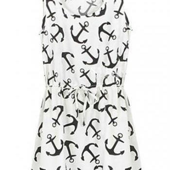 Cute Round Neck Sleeveless Print Design Mini Dress