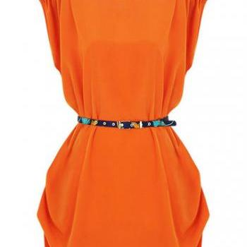 Fashion Short Sleeve Round Neck Dress - Orange