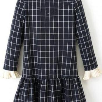 High Quality Long Sleeve Round Neck Plaid Print Mini Dress