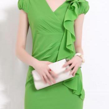 High Quality Puff Sleeve V Neck Chiffon Dress - Green