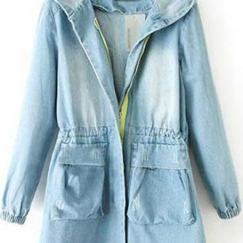 Casual Hooded Collar Long Sleeve Woman Denim Coat - Light Blue