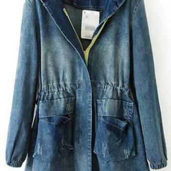 Casual Hooded Collar Long Sleeve Woman Denim Coat - Dark Blue