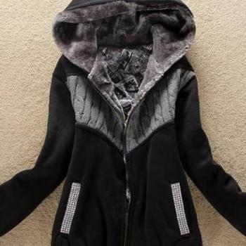 Fashion New Arrival Hooded Collar Woman Coat with Zip - Black